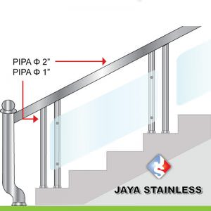 Railing stainless - Model Acrylic atau kaca