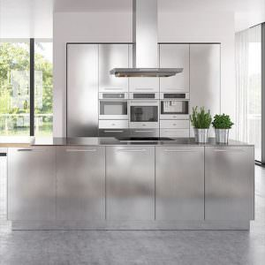 Modern clean lines stainless steel kitchen cabinet JS-KCS5D