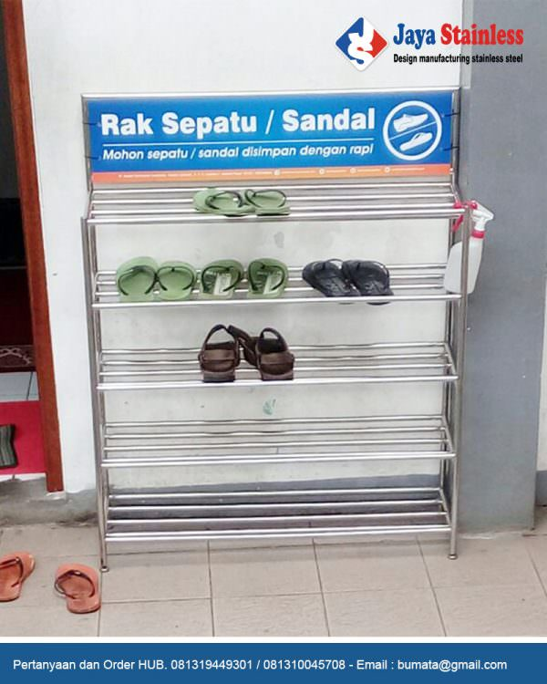 Rak sepatu stainless model excellent with display name