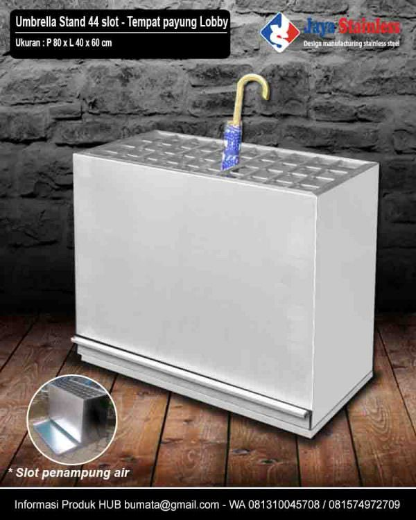 Tempat payung stainless untuk Lobby – Umbrella stand Stainless 44 slot