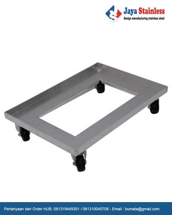 Trolley container stainless (trolley barang)