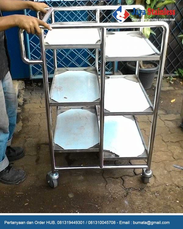 Trolley makanan stainless 6 susun - Food trolley 6 level stainless