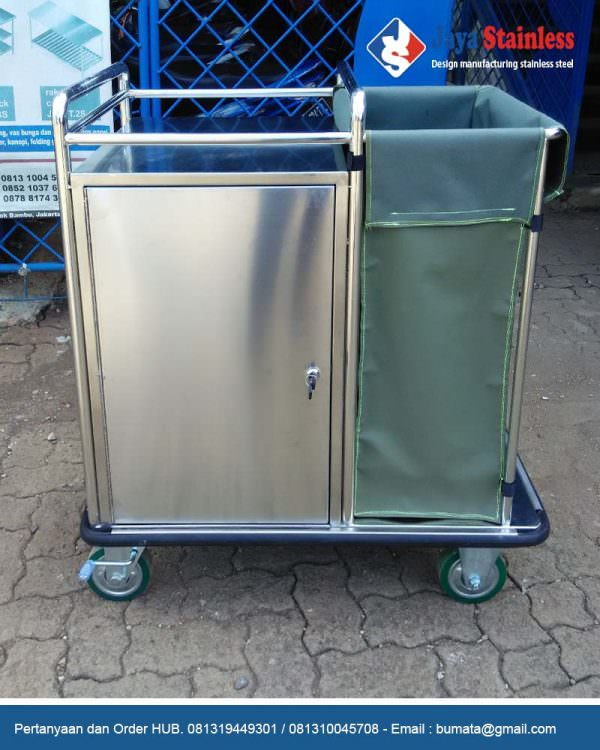 Trolley linen stainless - Stainless steel medical metal dirty linen trolley