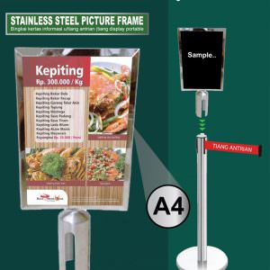 Frame display stainless (display portable untuk tiang antrian)