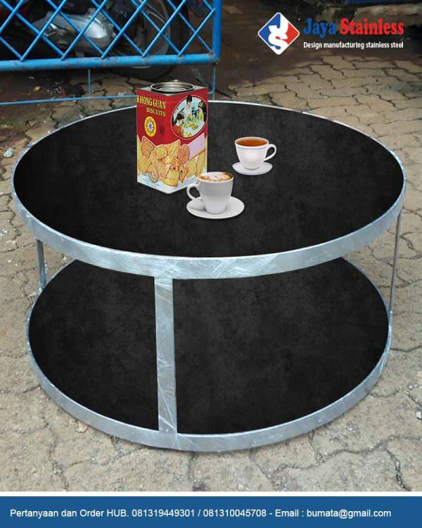 Meja stainless alas marmer - Coffee table - Kaki meja stainless