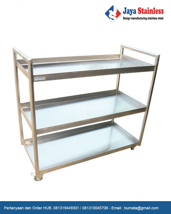 Trolley stainless multifungsi 3 level 2 handle