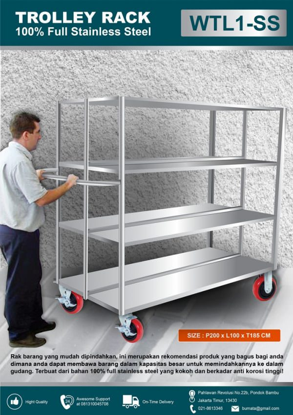 Warehouse trolley large (trolley gudang stainless)