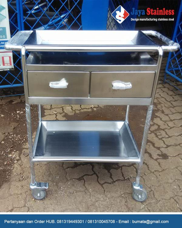 Trolley instrumen stainless 2 laci - hospital instrument trolley with mayo tray