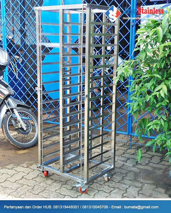 Trolley nampan stainless 30 tray - Trolley loyang stainless steel 30 susun