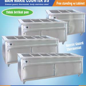 Bain marie counter stainless (free standing with cabinet)