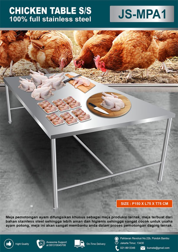 Meja industri ayam potong stainless steel